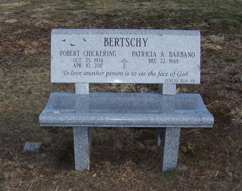 Polished Barre Gray Granite Bench Cemetery Monument