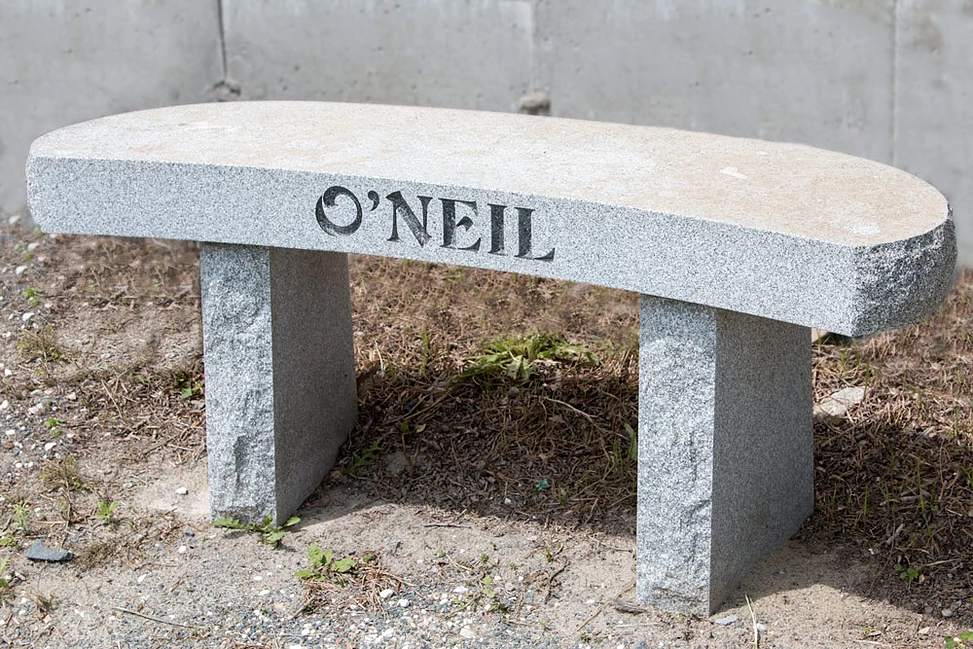 Unpolished Grey Granite Bench Cemetery Monument
